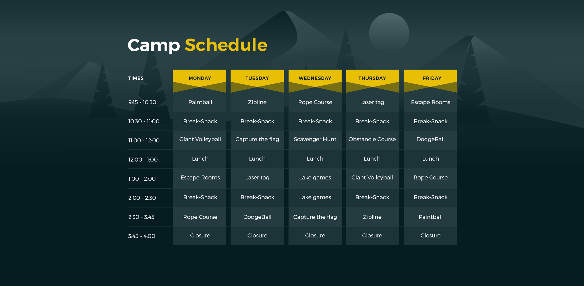 Xtreme Park Adventures summer camp sample schedule